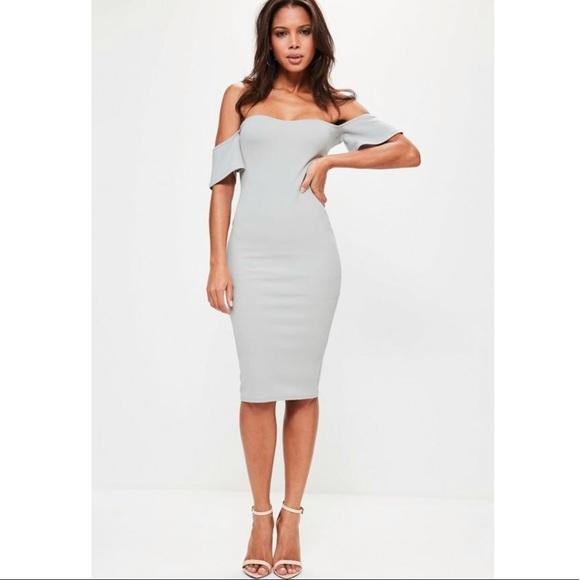 d0781a130 Missguided Dresses | Bardot Bodycon Midi Dress Ice Grey | Poshmark